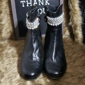 Maurices Black Wedge Jewel Ankle Boots Size 8